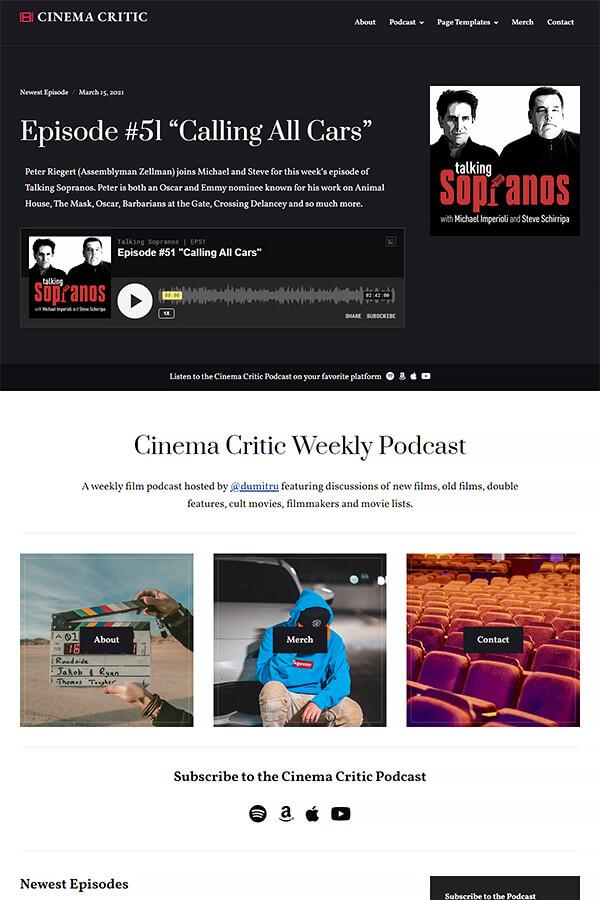 Podcast Plus Theme Demo: Movies Podcast