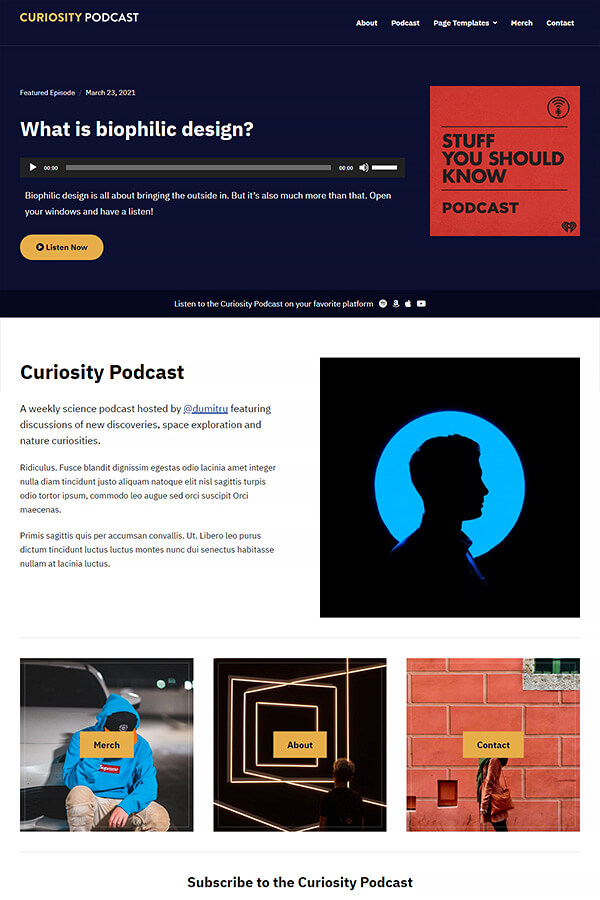 Podcast Plus Theme Demo: Curiosity Podcast