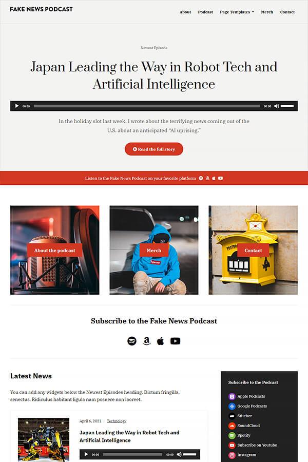 Podcast Plus Theme Demo: Fake News Podcast