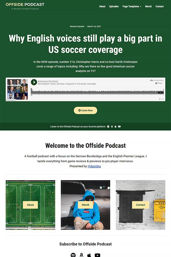 Podcast Plus Theme Demo: Football Podcast